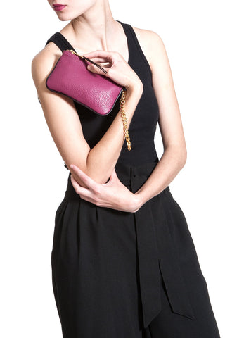 Burgundy-Plum 'Walsh' Italian Leather Pouch on Model Mel Boteri