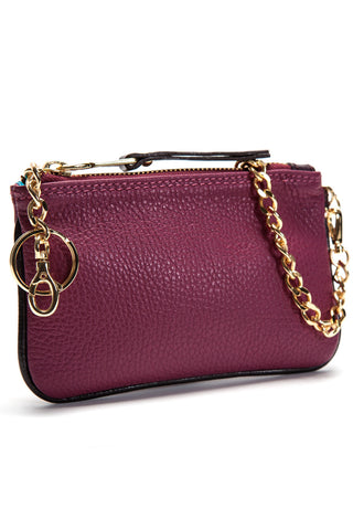 Burgundy-Plum 'Walsh' Italian Leather Pouch Side Mel Boteri