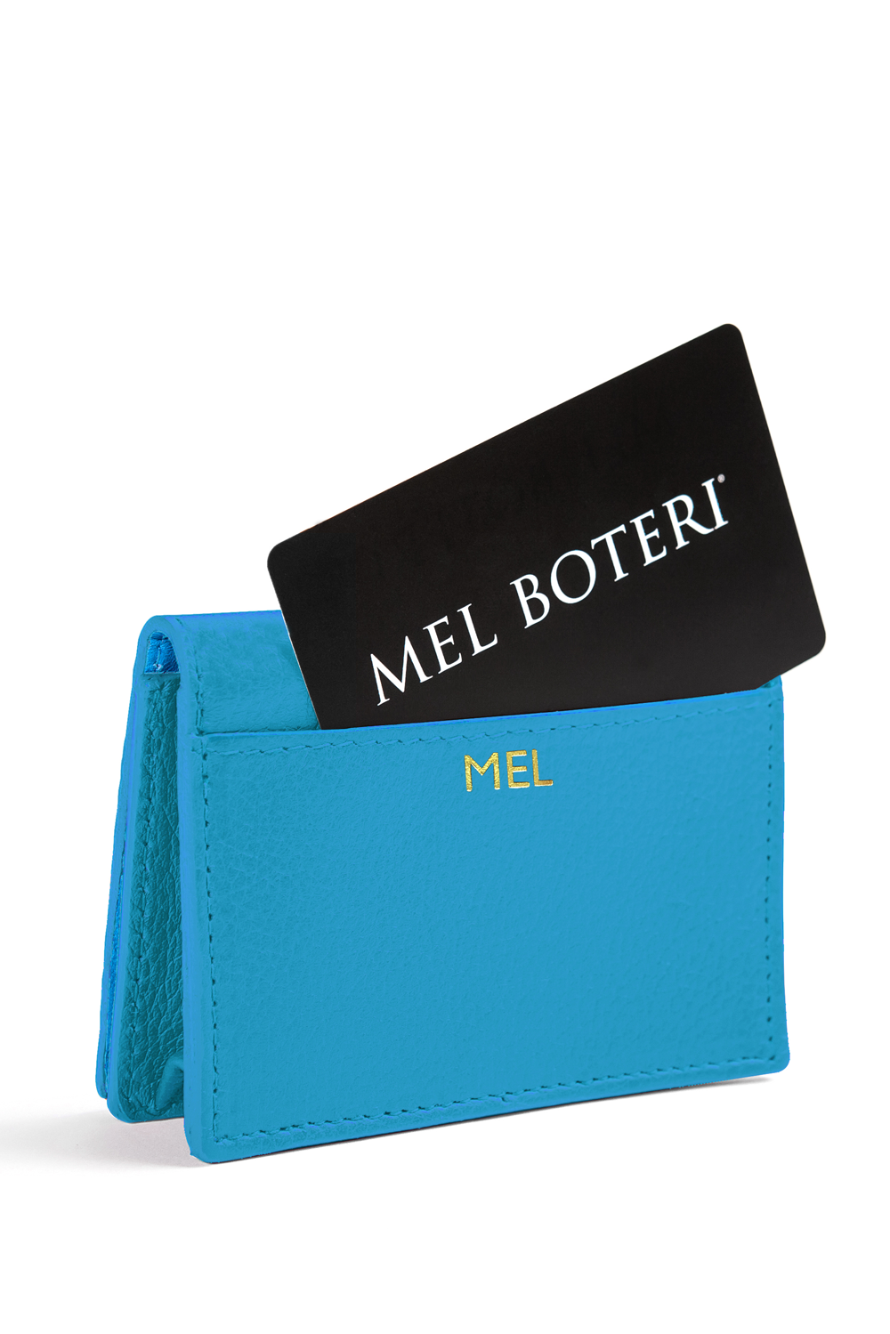 The Mel Boteri Leather Card Holder | Aqua Leather With Gold Monogram | Mel Boteri Gift Ideas | Design Your Own
