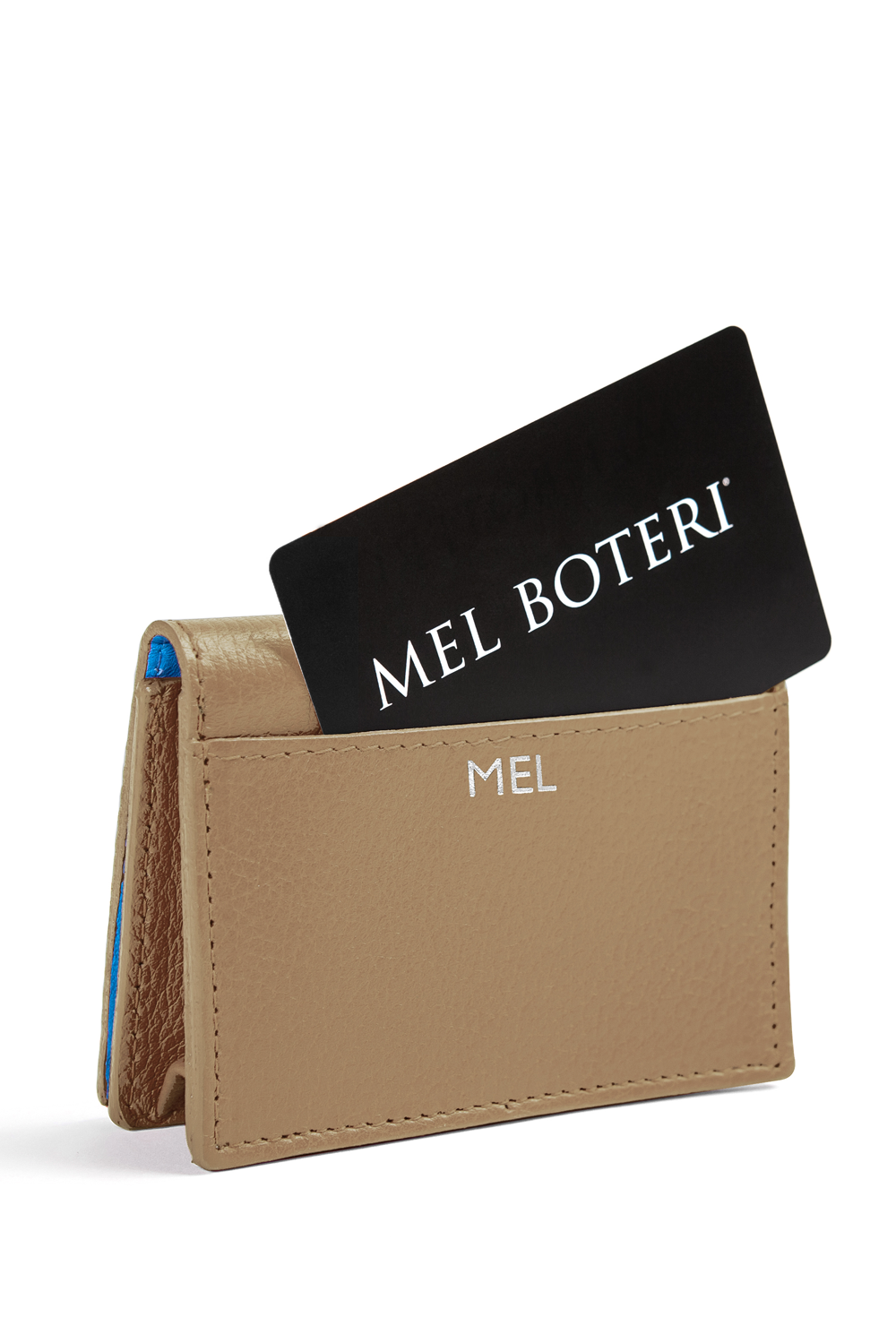 The Mel Boteri Leather Card Holder | Biscotti Leather With Silver Monogram | Mel Boteri Gift Ideas | Design Your Own