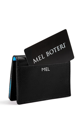 The Mel Boteri Leather Card Holder | Black Leather With Silver Monogram | Mel Boteri Gift Ideas | Design Your Own