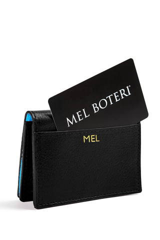The Mel Boteri Leather Card Holder | Black Leather With Gold Monogram | Mel Boteri Gift Ideas | Design Your Own