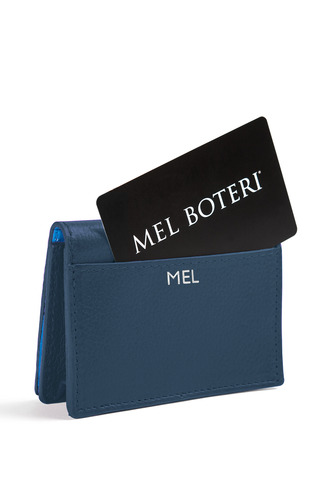 The Mel Boteri Leather Card Holder | Denim Leather With Silver Monogram | Mel Boteri Gift Ideas | Design Your Own