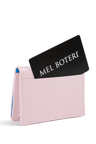 The Mel Boteri Leather Card Holder | Doll Pebbled With Silver Monogram | Mel Boteri Gift Ideas | Design Your Own