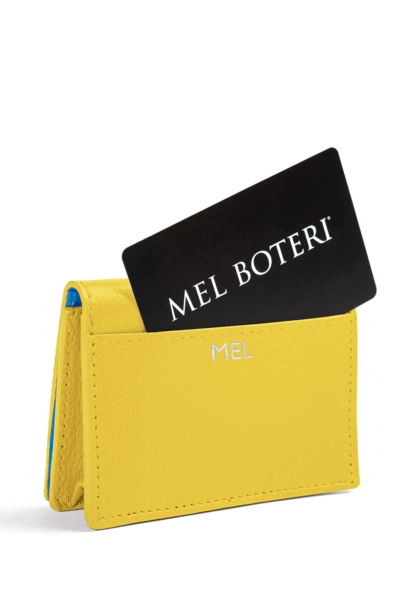 The Mel Boteri Leather Card Holder | Lemon Leather With Silver Monogram | Mel Boteri Gift Ideas | Design Your Own