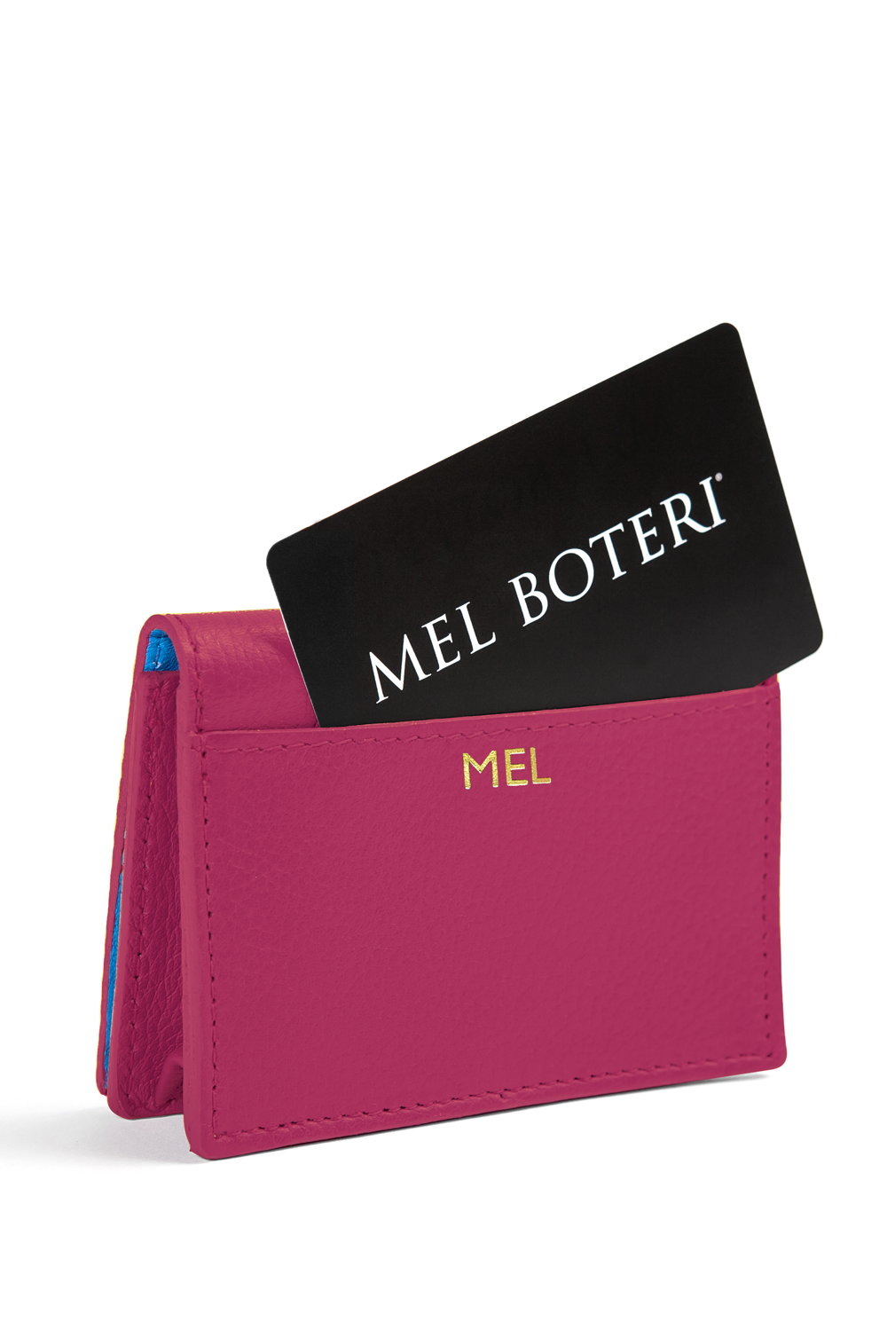 The Mel Boteri Leather Card Holder | Magenta Leather With Gold Monogram | Mel Boteri Gift Ideas | Design Your Own