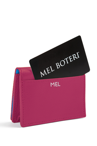 The Mel Boteri Leather Card Holder | Magenta Leather With Silver Monogram | Mel Boteri Gift Ideas | Design Your Own