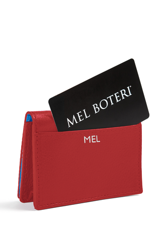 The Mel Boteri Leather Card Holder | Ruby Leather With Silver Monogram | Mel Boteri Gift Ideas | Design Your Own