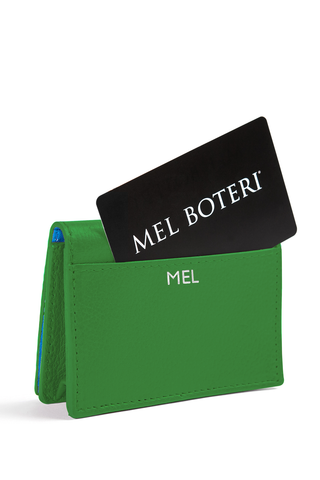 The Mel Boteri Leather Card Holder | Shamrock Leather With Silver Monogram | Mel Boteri Gift Ideas | Design Your Own