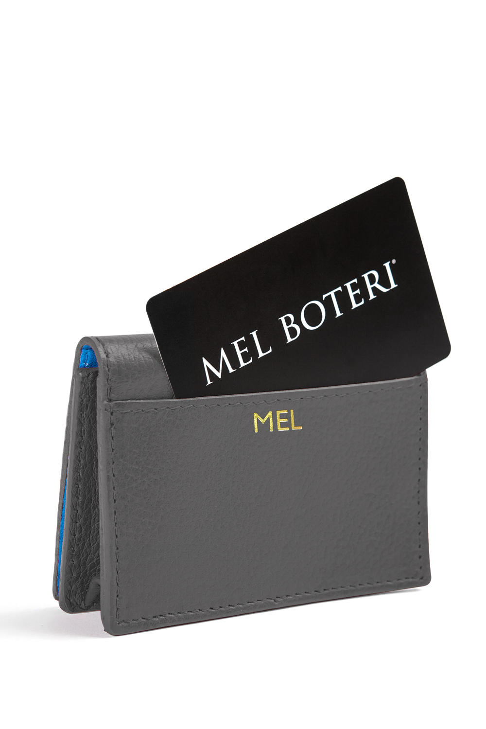 The Mel Boteri Leather Card Holder | Stone Leather With Gold Monogram | Mel Boteri Gift Ideas | Design Your Own