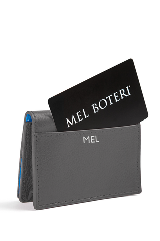 The Mel Boteri Leather Card Holder | Stone Leather With Silver Monogram | Mel Boteri Gift Ideas | Design Your Own