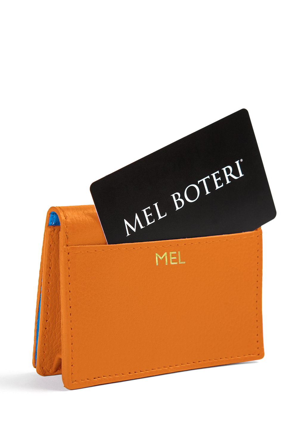 The Mel Boteri Leather Card Holder | Tiger Leather With Gold Monogram | Mel Boteri Gift Ideas | Design Your Own