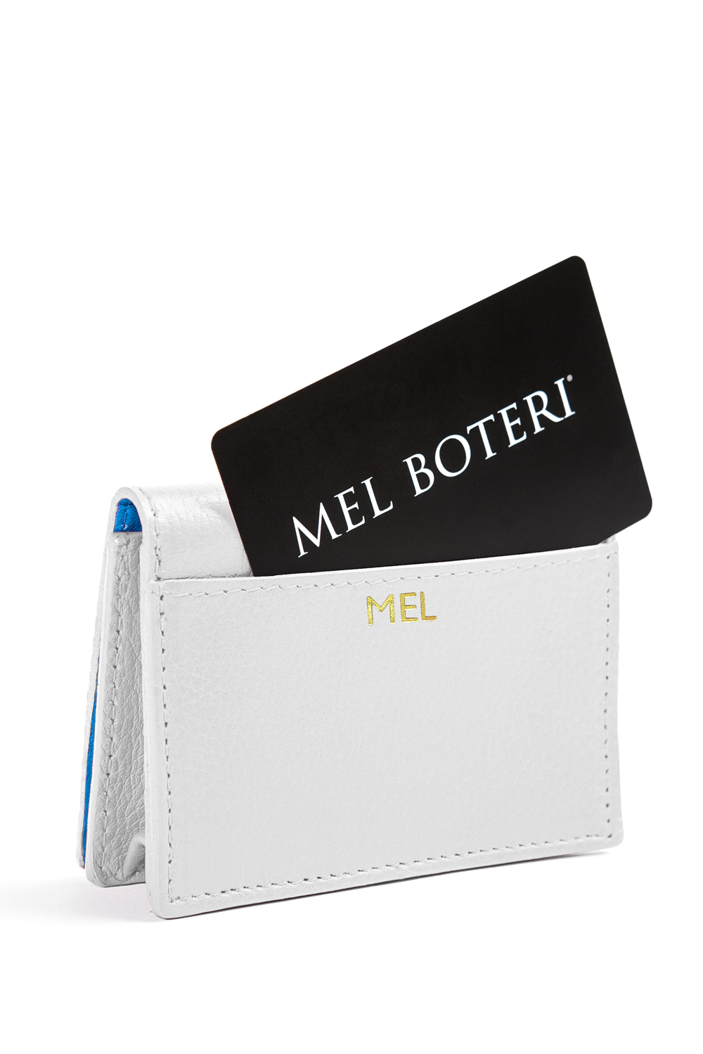The Mel Boteri Leather Card Holder | White Leather With Gold Monogram | Mel Boteri Gift Ideas | Design Your Own