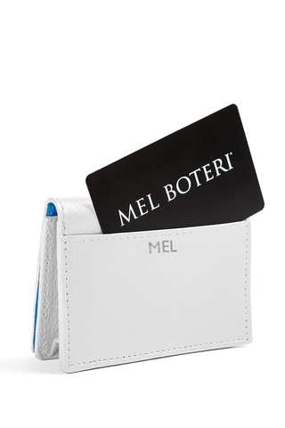 The Mel Boteri Leather Card Holder | White Leather With Silver Monogram | Mel Boteri Gift Ideas | Design Your Own