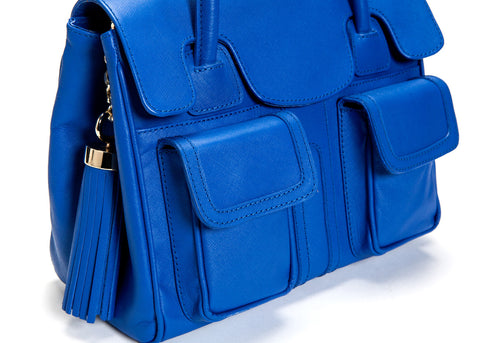 Cobalt Blue Saffiano Leather Christy Mini Tote | Detail View | Mel Boteri