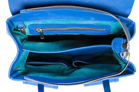Cobalt Blue Saffiano Leather Christy Mini Tote | Turquoise Interior | Mel Boteri