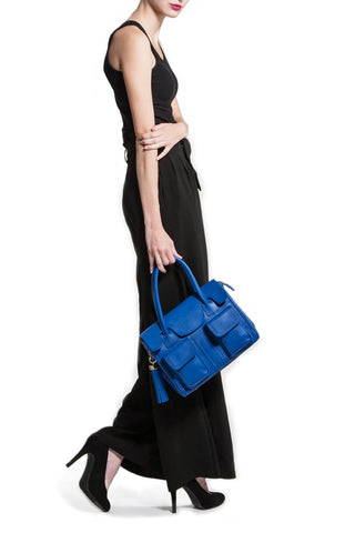 Cobalt Blue Saffiano Leather Christy Mini Tote | Modeled| Mel Boteri