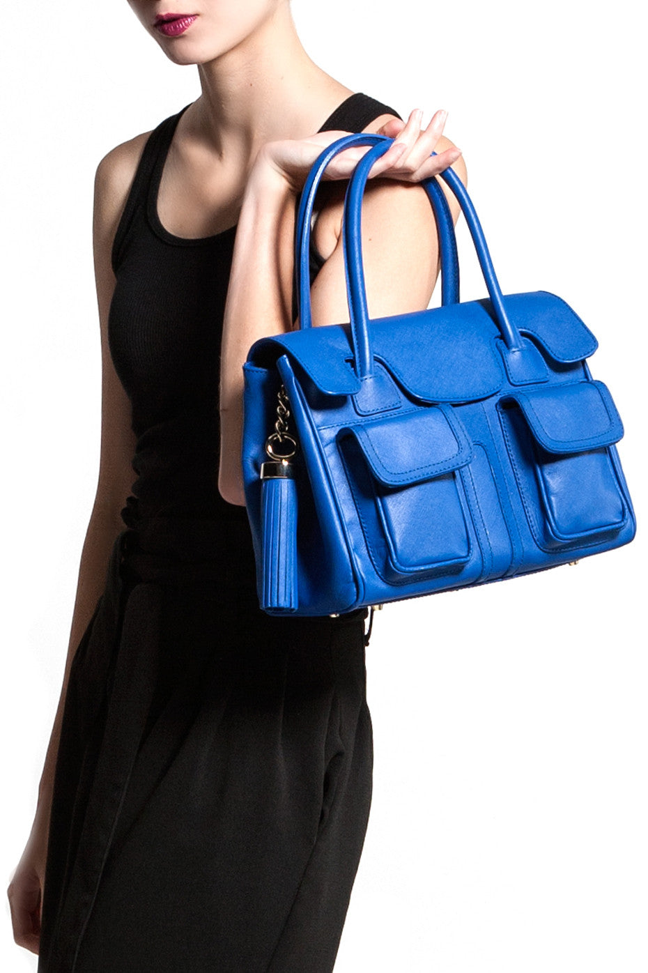 Cobalt Blue Saffiano Leather Christy Mini Tote | Modeled | Mel Boteri