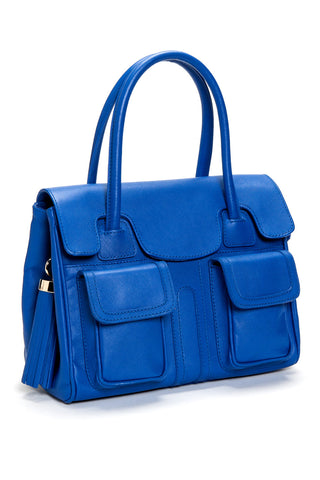Cobalt Blue Saffiano Leather Christy Mini Tote | Side View | Mel Boteri