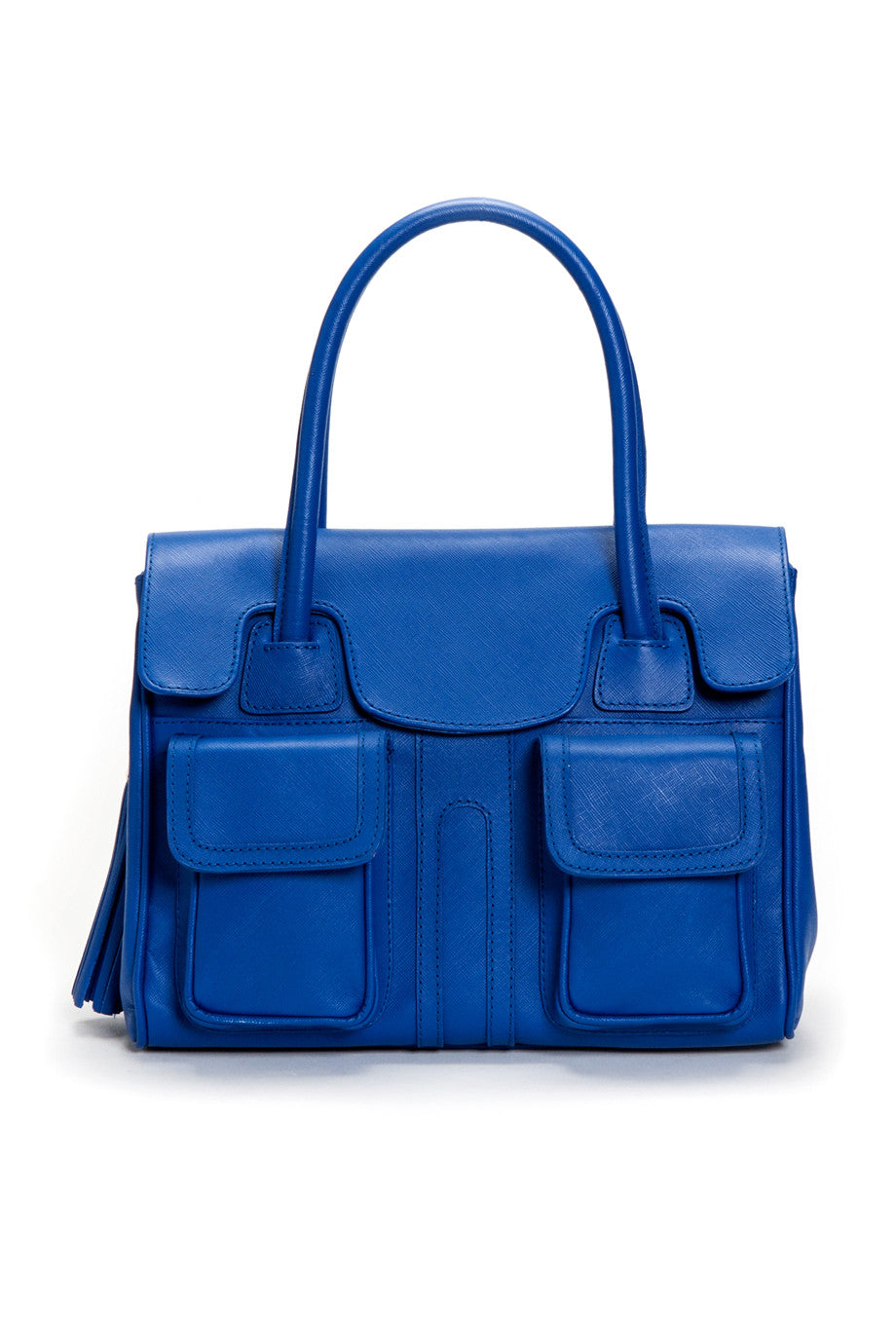 Cobalt Blue Saffiano Leather Christy Mini Tote | Front View | Mel Boteri