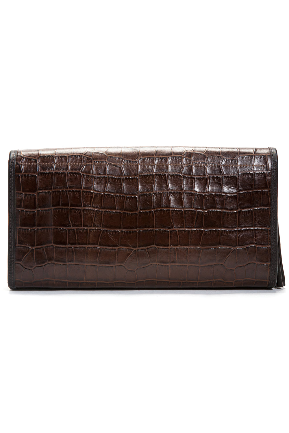 Cocoa Brown, Croc-Effect Leather 'Cara' Envelope Clutch | Mel Boteri | Back View