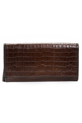 Cocoa Brown, Croc-Effect Leather 'Cara' Envelope Clutch