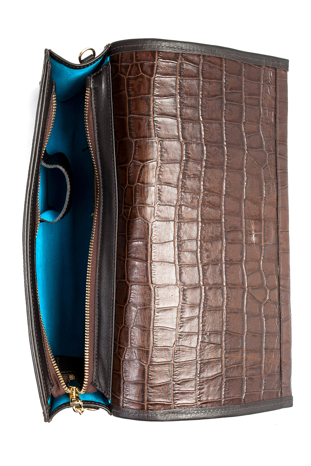 Cocoa Brown, Croc-Effect Leather 'Cara' Envelope Clutch | Mel Boteri | Interior View