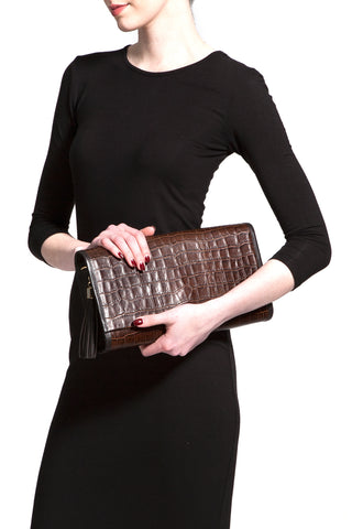 Cocoa Brown, Croc-Effect Leather 'Cara' Envelope Clutch | Mel Boteri | Model Clutch View