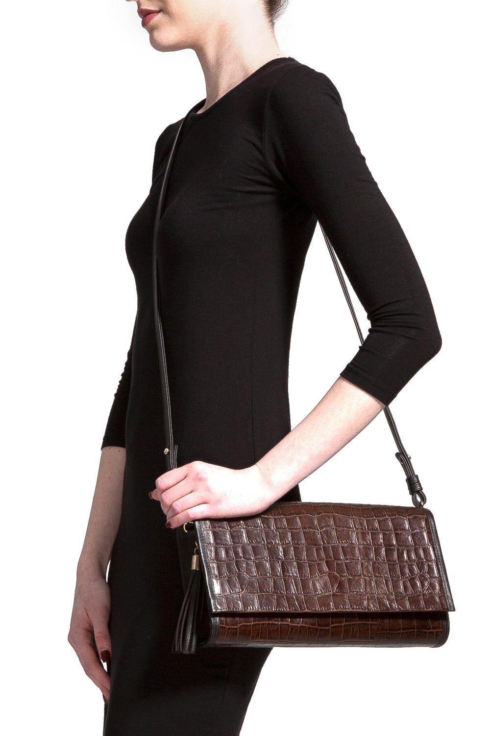 Cocoa Brown, Croc-Effect Leather 'Cara' Envelope Clutch | Mel Boteri | Model Cross-Body View
