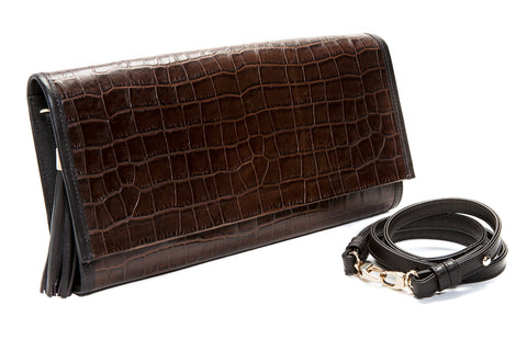 Cocoa Brown, Croc-Effect Leather 'Cara' Envelope Clutch | Mel Boteri | Side View