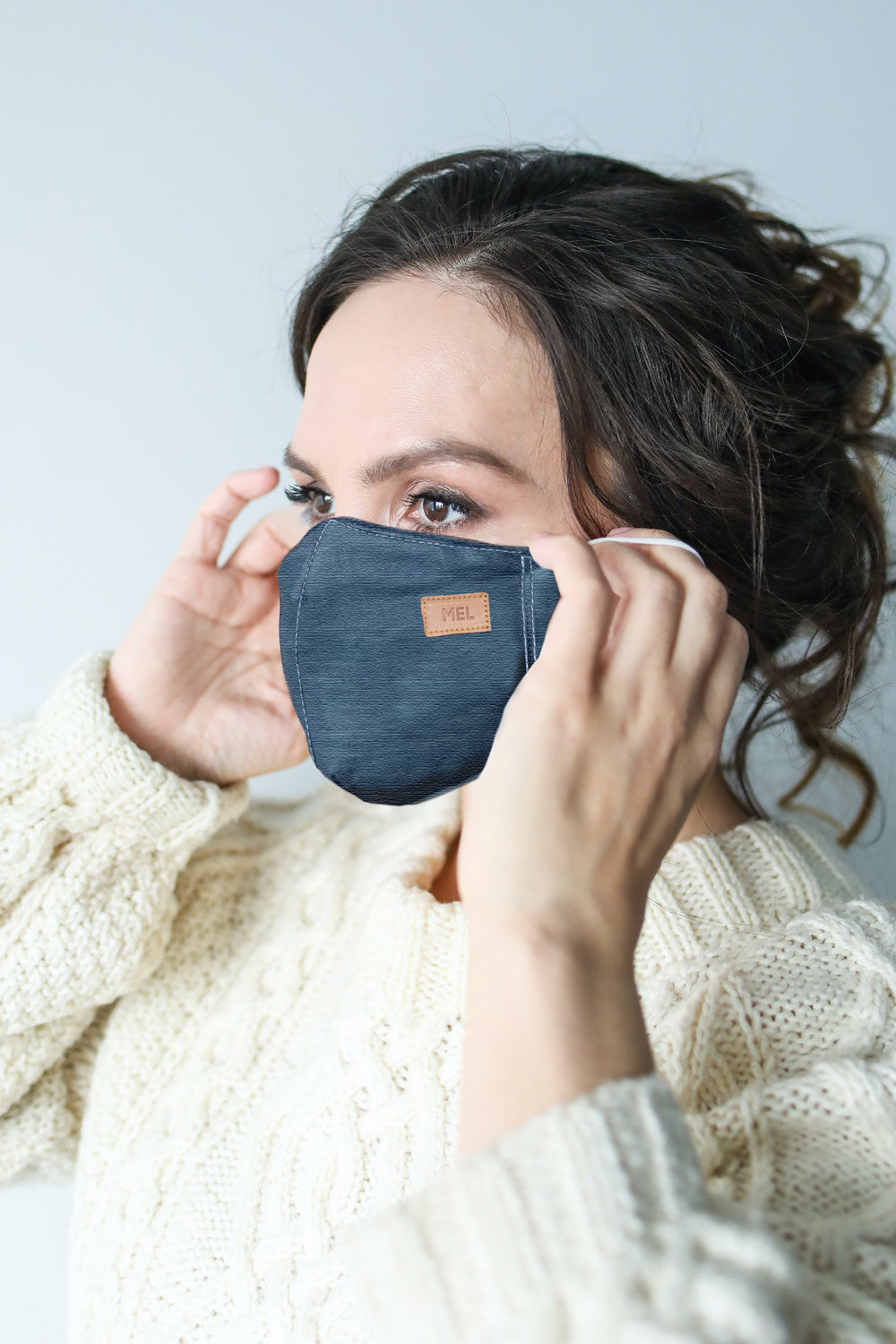 Mel Boteri | Denim Monogram Mask With Vachetta Leather | Model