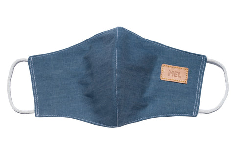 Mel Boteri | Denim Monogram Mask With Vachetta Leather | Open