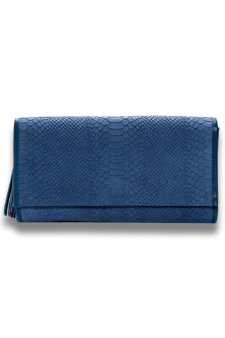 Denim Snake, Suede Leather 'Cara' Envelope Clutch | Mel Boteri | Front View