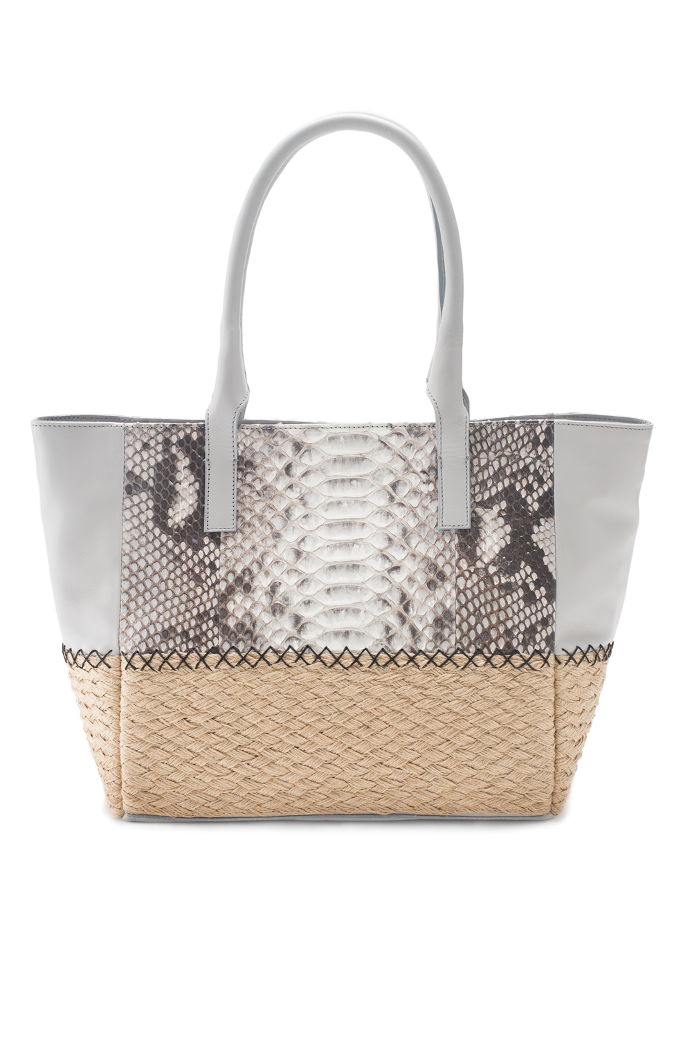 Mel Boteri | Harbor Grey Python Leather & Espadrille 'Ellis Mini' Tote | Back View