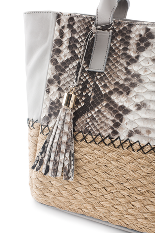 Mel Boteri | Harbor Grey Python Leather & Espadrille 'Ellis Mini' Tote | Detail View
