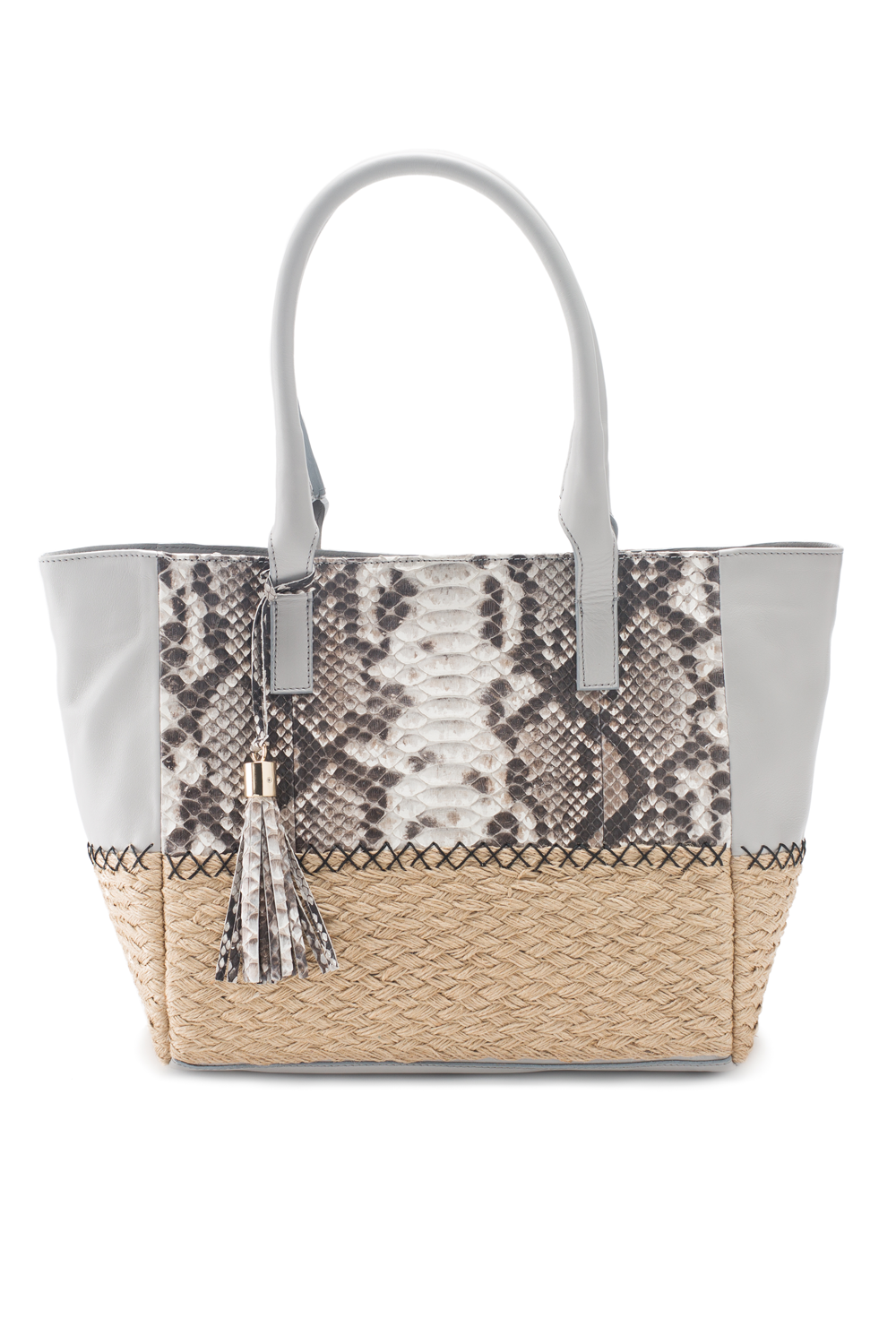 Mel Boteri | Harbor Grey Python Leather & Espadrille 'Ellis Mini' Tote | Front View
