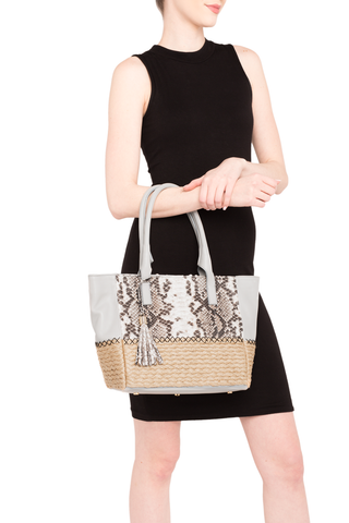Mel Boteri | Harbor Grey Python Leather & Espadrille 'Ellis Mini' Tote | Model View
