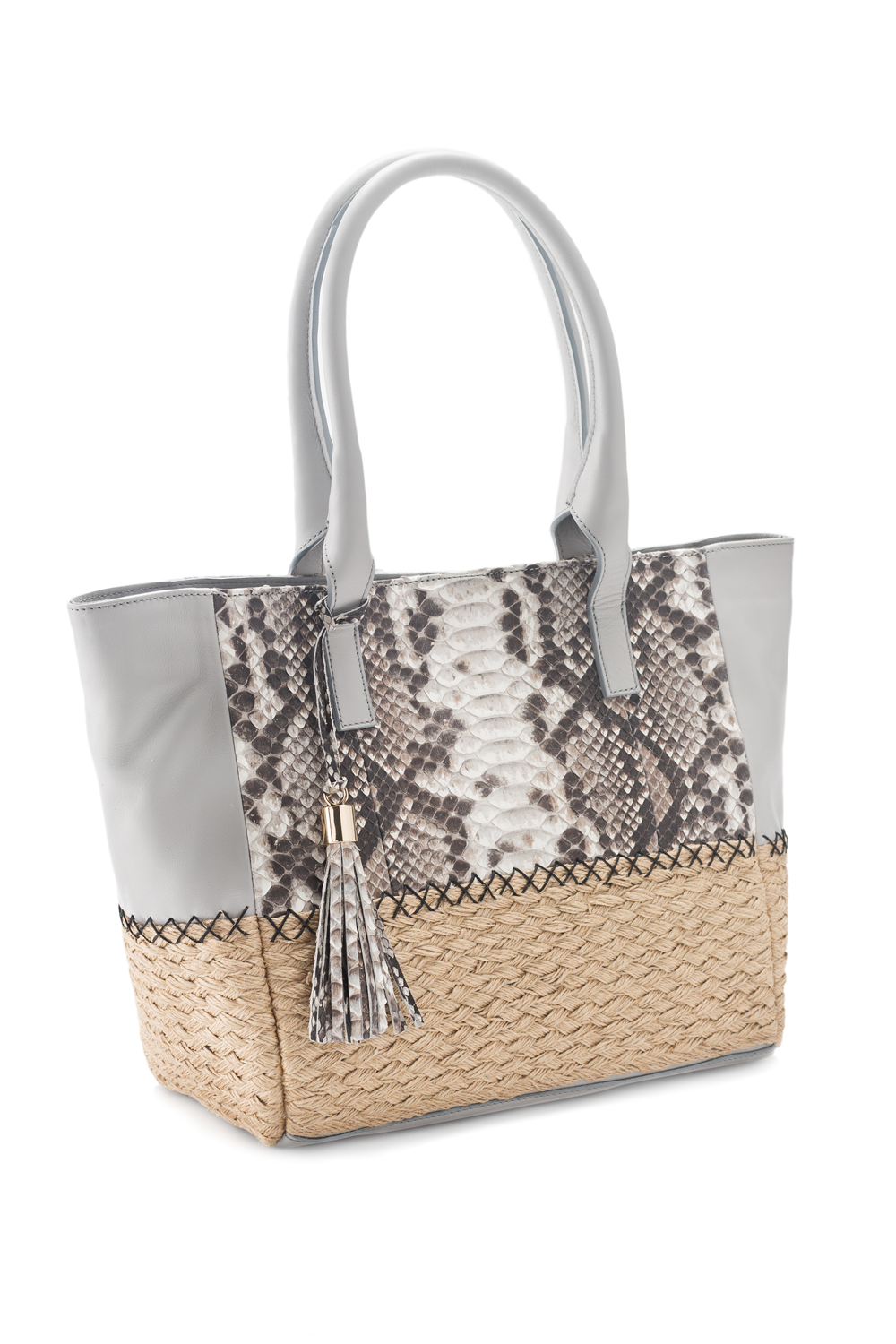 Mel Boteri | Harbor Grey Python Leather & Espadrille 'Ellis Mini' Tote | Side View