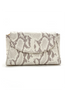 Taupe Snake Print 'Emmy' Convertible Clutch | Mel Boteri | Front