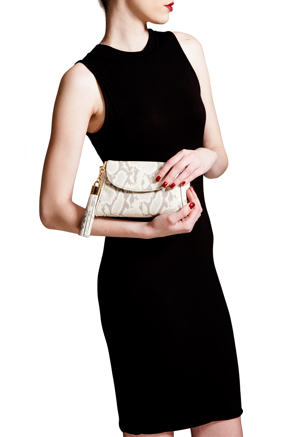Taupe Snake Print 'Emmy' Convertible Clutch | Mel Boteri | Model