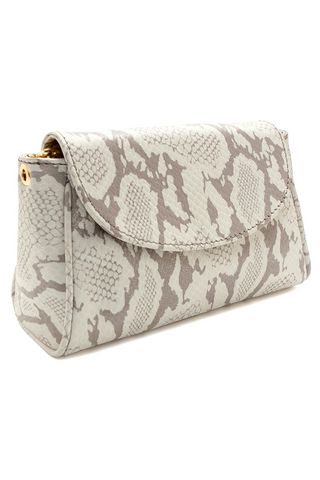 Taupe Snake Print 'Emmy' Convertible Clutch | Mel Boteri | Side