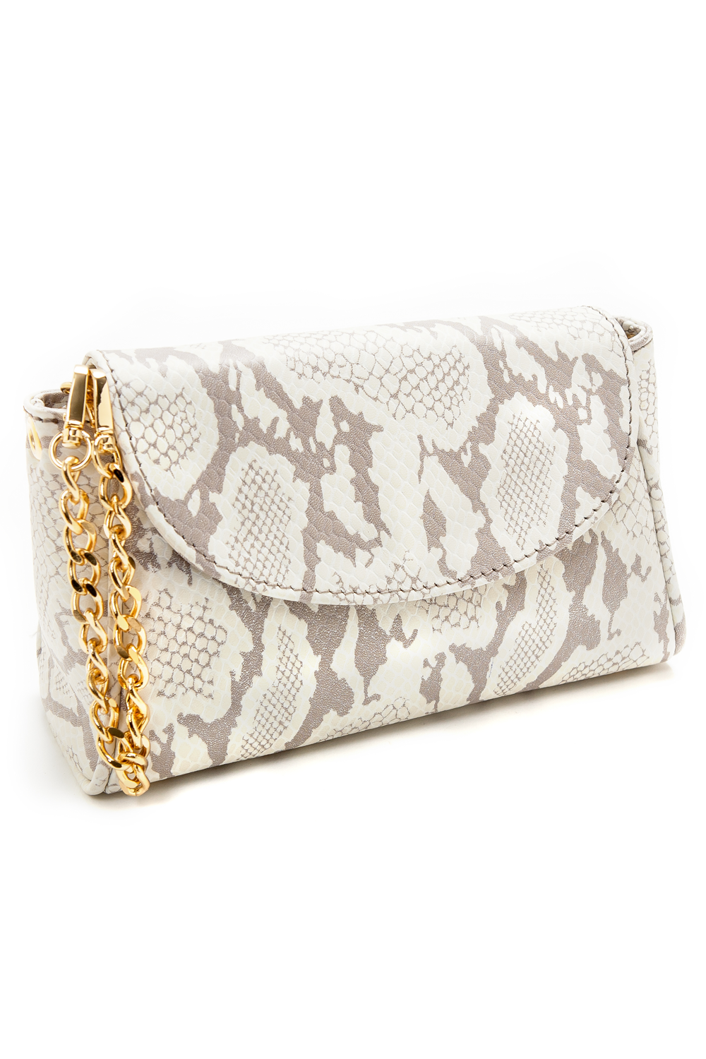 Taupe Snake Print 'Emmy' Convertible Clutch | Mel Boteri | Side View