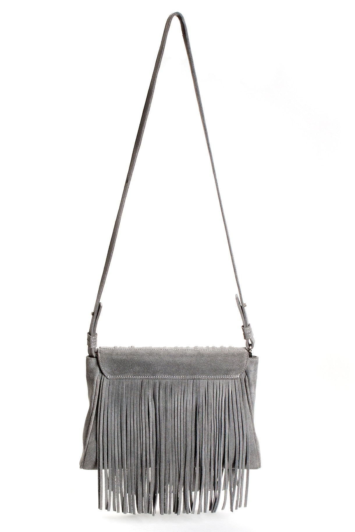 Mel Boteri Grey Suede Leather 'Taylea' Fringe Leather Bag | Back View