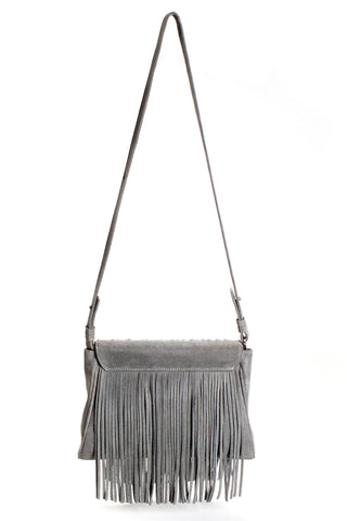 The 'Visions of Vogue' Grey Suede Fringe Handbag | Back View | Mel Boteri