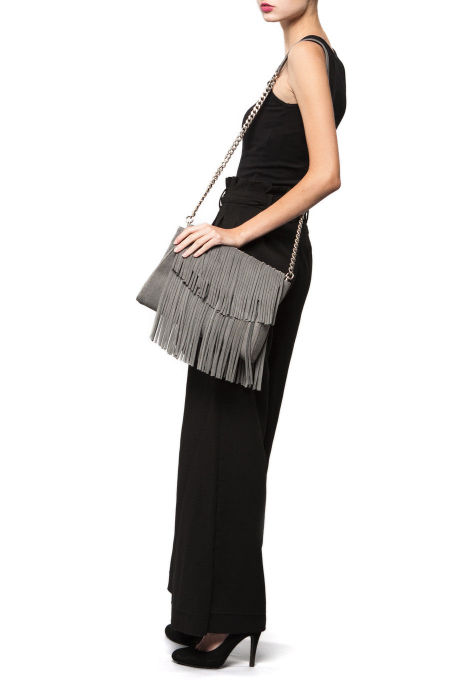 The 'Visions of Vogue' Grey Suede Fringe Handbag | Modeled | Mel Boteri