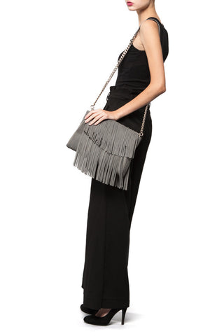 Mel Boteri Grey Suede Leather 'Taylea' Fringe Leather Bag | Chain Strap