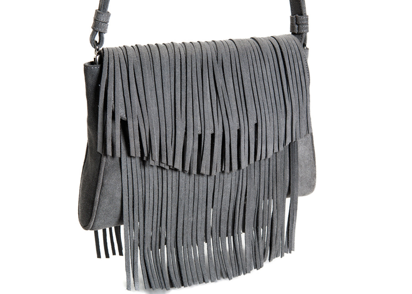 The 'Visions of Vogue' Grey Suede Fringe Handbag | Detail View | Mel Boteri