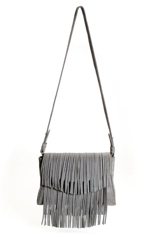 The 'Visions of Vogue' Grey Suede Fringe Handbag | Mel Boteri