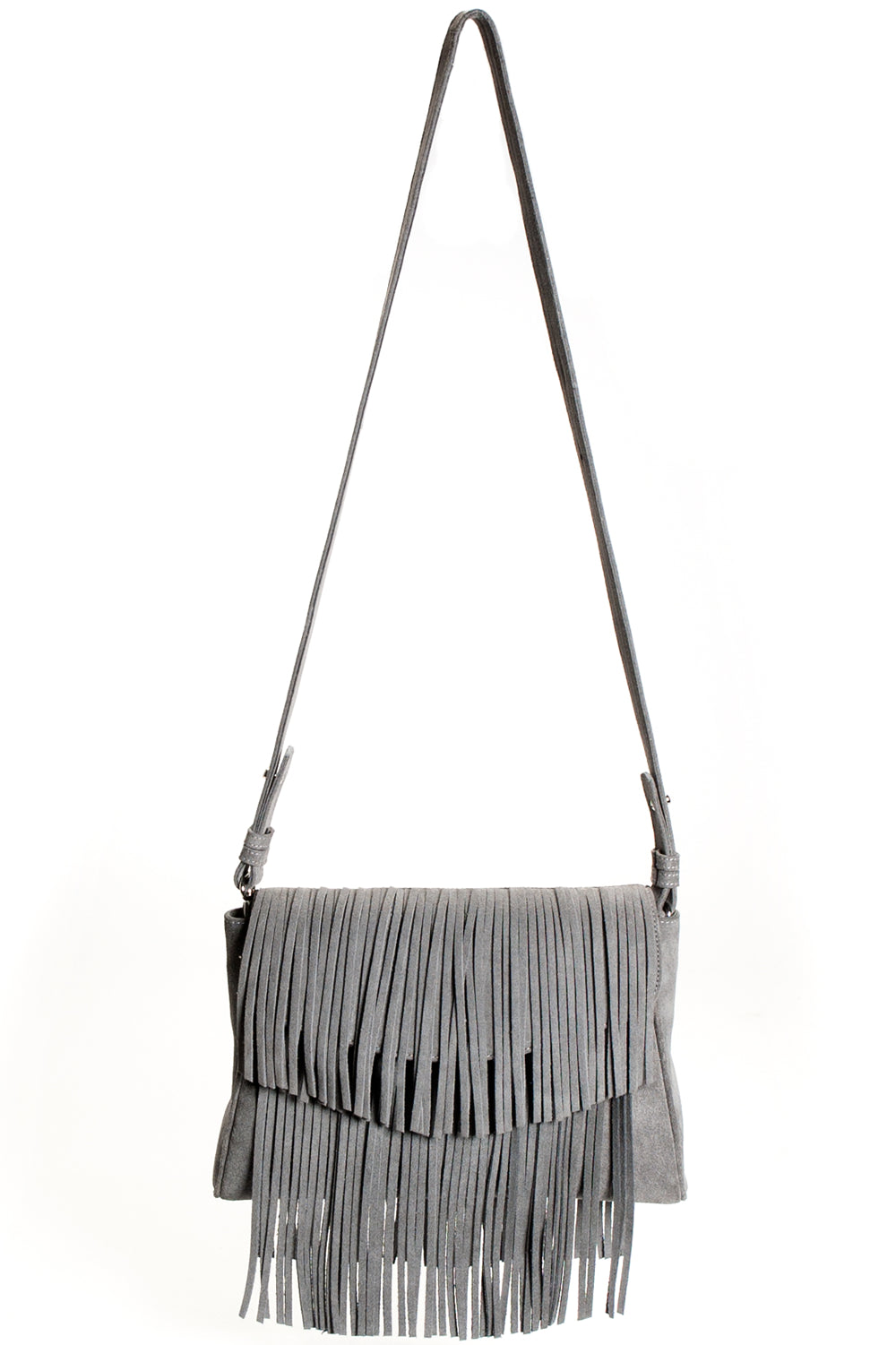 Mel Boteri Grey Suede Leather 'Taylea' Fringe Leather Bag | Front View