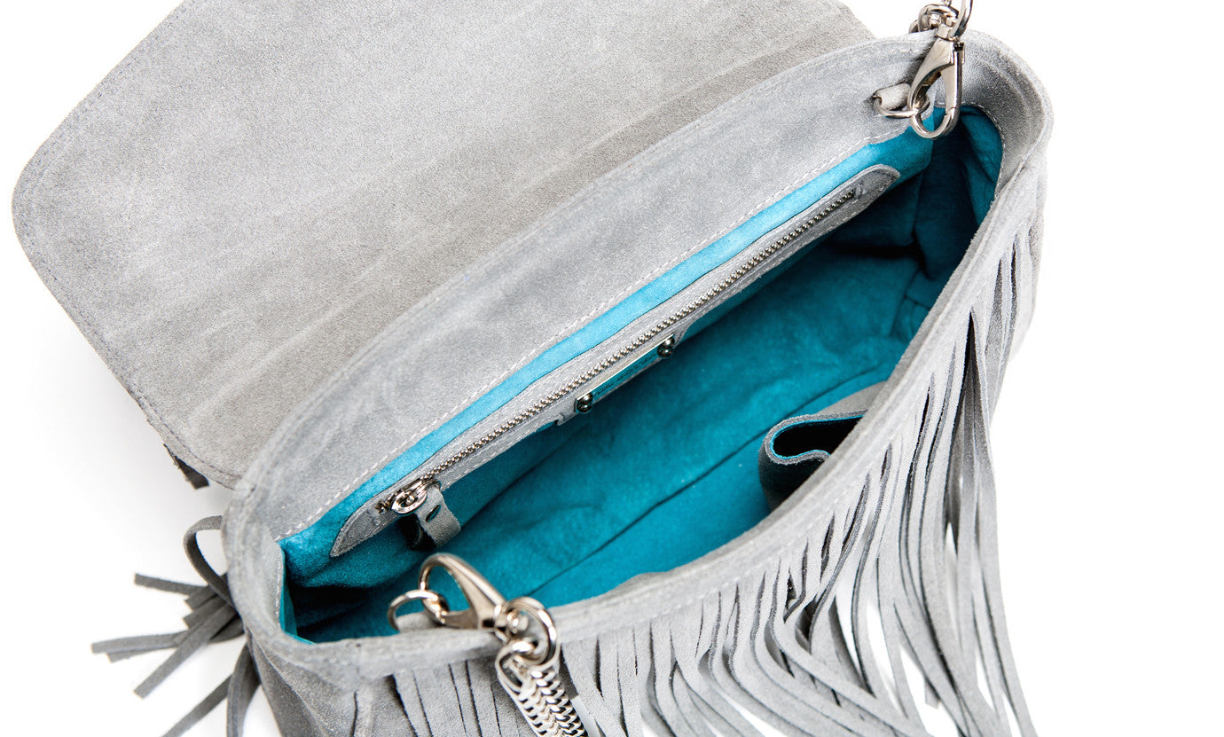 The 'Visions of Vogue' Grey Suede Fringe Handbag | Turquoise Interior | Mel Boteri